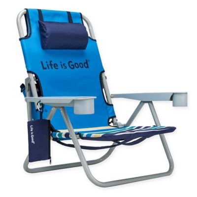 folding yard chair inflatable gaming buy outdoor bed bath beyond life is good beach with cooler in green