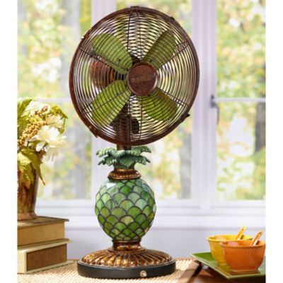 Deco Breeze Mosaic Glass Pineapple Table Fan  Bed Bath