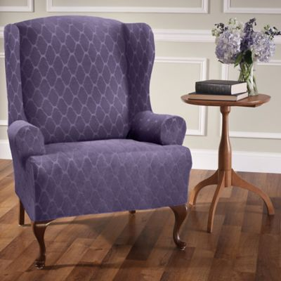 blue wingback chair slipcovers old barber chairs buy stretch wing slipcover bed bath beyond sensations ogee in grape