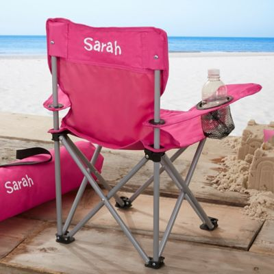 folding bag chair used parsons chairs buy bed bath beyond toddler personalized pink camp