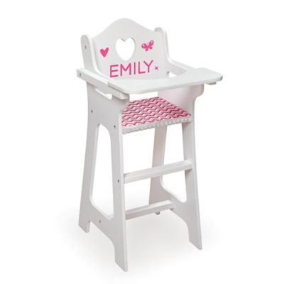 high chair with accessories clear plastic wooden legs buy bed bath beyond badger basket doll red gingham seat and feeding