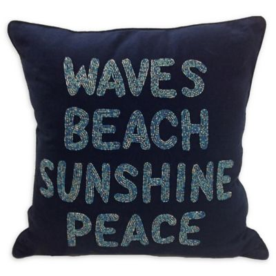 beach chair pillow with strap little girl chairs buy pillows bed bath beyond waves square indoor outdoor throw in navy