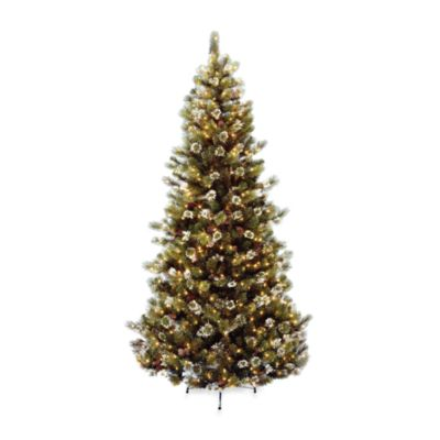 National Tree Company 7 Foot 6 Inch Glittery Bristle Pine Pre Lit Christmas Tree With Clear