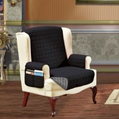 Chic Chair Covers Birmingham Stretch Slipcovers For Wingback Chairs Buy Wing Bed Bath Beyond Smart Solid Microfiber Cover In Black Grey