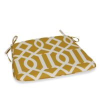 Bistro Chair Cushion with Ties in Yellow Trellis - Bed ...