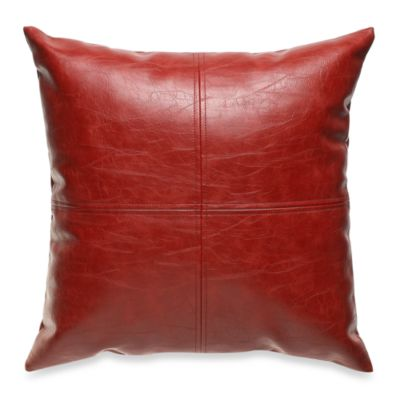 San Francisco Faux Leather Red Throw Pillow  Bed Bath