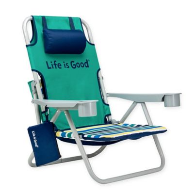folding bag chair baby swing video buy chairs bed bath beyond life is good beach with cooler in blue