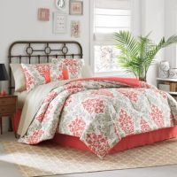 Carina 6-8 Piece Complete Comforter Set in Coral - Bed ...