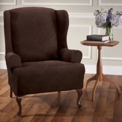 Blue Wingback Chair Slipcovers Ergonomic Video Editing Buy Stretch Wing Slipcover Bed Bath Beyond Shapely Diamond In Brown