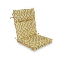 High-Back Cushion with Ties in Yellow Trellis - Bed Bath ...