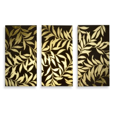 Buy Gold Leaves Panel Wall Art (Set of 3) from Bed Bath
