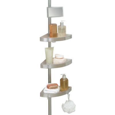 Telescoping Corner Shower Caddy With Plastic Shelves