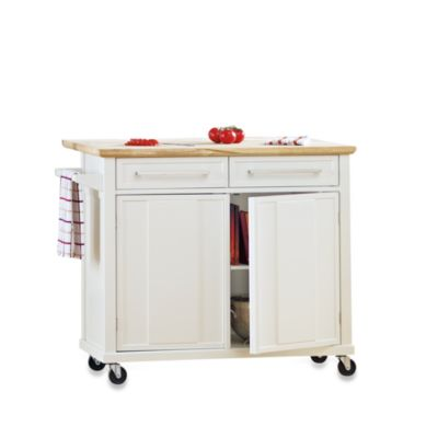Real Simple Rolling Kitchen Island in White  Bed Bath