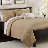 Medallion Reversible Quilt Set in Taupe