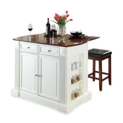 island stools for kitchen pull out drawers buy bed bath beyond crosley drop leaf breakfast bar top in white with cherry square seat