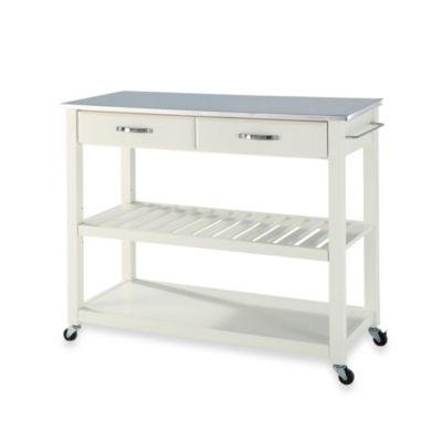 crosley kitchen cart white lacquer cabinets buy carts bed bath beyond stainless steel top rolling island with removable shelf in