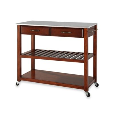 cherry kitchen cart building a cabinet buy carts bed bath beyond crosley stainless steel top rolling island with removable shelf in classic