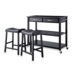 Rolling Kitchen Carts Table For Small Buy Crosley Bed Bath Beyond Solid Black Granite Top Cart Island With Upholstered Saddle Stools In