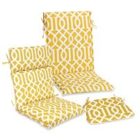 Outdoor Seat Cushion Collection in Yellow Trellis - Bed ...