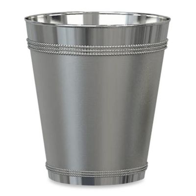 stainless steel kitchen trash can cherry island beaded metal wastebasket in - bed bath ...