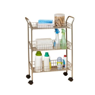 3Tier Rolling Bath Cart with Locking Wheels in Matte