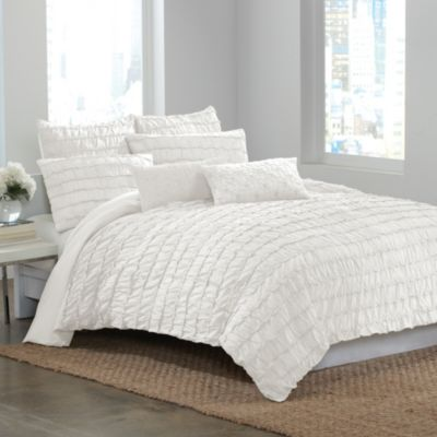 DKNY Ruffle Wave Duvet Cover in White  Bed Bath  Beyond