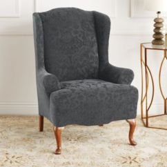 Sure Fit Wing Chair Slipcover Material To Recover Dining Room Chairs Buy Stretch Bed Bath Beyond Jacquard Damask In Grey