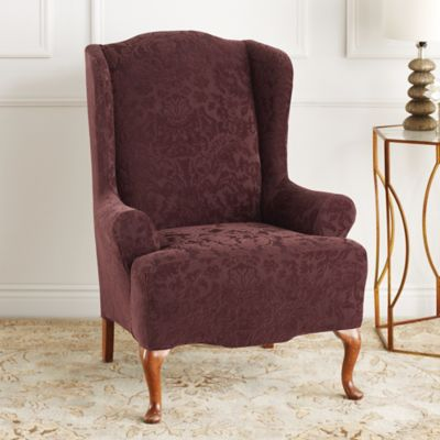 wing chair slipcover pattern office massage sure fit® stretch jacquard damask wingback - bed bath & beyond