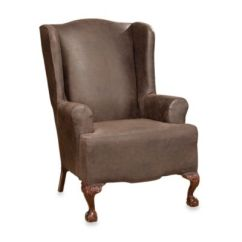 Sure Fit Wing Chair Slipcover Bar Stool Legs Fit® Stretch Leather Wingback In Brown - Bed Bath & Beyond