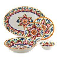 Mirasol Hand Painted Cream Round Melamine Dinnerware ...