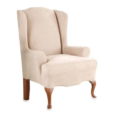 Sure Fit Stretch Suede Wingback Chair Slipcover  Bed