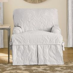 Chair Slipcover T Cushion Mobo Mount Buy Slipcovers Bed Bath Beyond Sure Fit Matelasse Damask In White