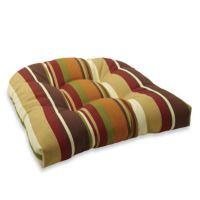 Decorative U-Shaped Chair Cushion in Chocolate Stripe ...