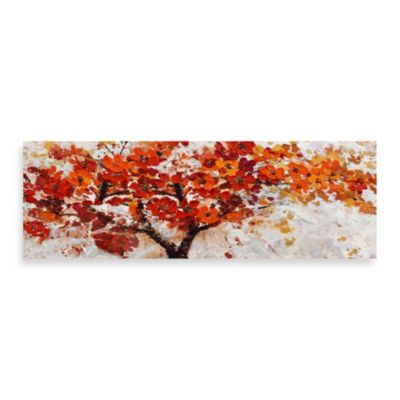 Red Embellished Canvas Tree 60 Inch X 20 Inch Wall Art