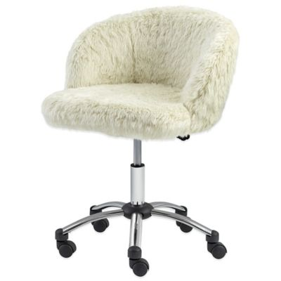 dorm room chairs bed bath and beyond donati office chair manual fur task in light cream - &