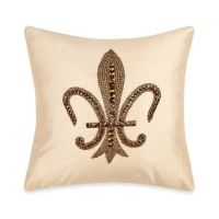 Fleur De Lis Embroidered Throw Pillow in Beige - Bed Bath ...