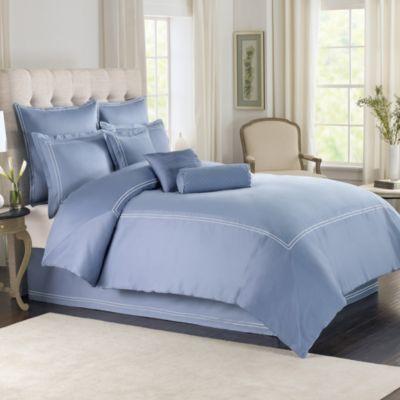 Wamsutta 174 Baratta Stitch Comforter Set In Periwinkle Bed