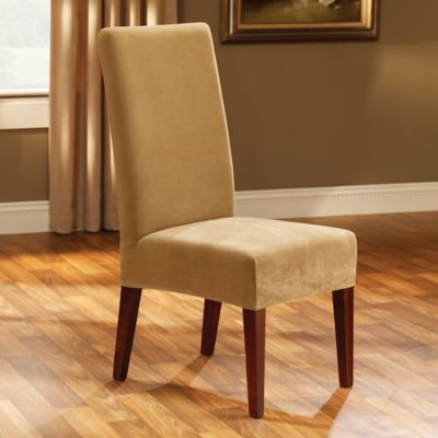 dining chair covers bed bath and beyond banded swivel blind tall sure fit® stretch pique short room slipcover in antique - &
