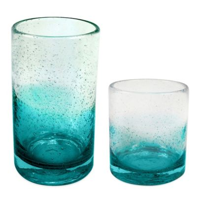 Ombre Bubble Glass Drinkware In Teal Bed Bath Amp Beyond
