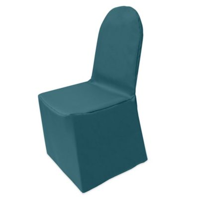 teal chair covers cover rentals niagara buy bed bath beyond basic polyester for banquet in