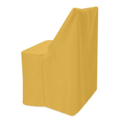 metal chair covers revolving wing buy bed bath beyond basic polyester cover for wood folding in gold