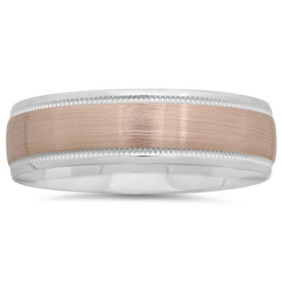 Buy 10K White And Rose Gold Brushed Center Size 10 Mens