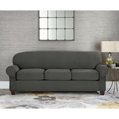 sure fit wing chair cover covers wedding to buy fit® designer suede individual cushion 3-seat sofa slipcover in grey from bed bath & beyond