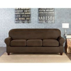 Slipcover Sofa Bed Bath Beyond Fix A Frame Sure Fit® Vintage Faux Leather Individual Cushion 3-seat ...
