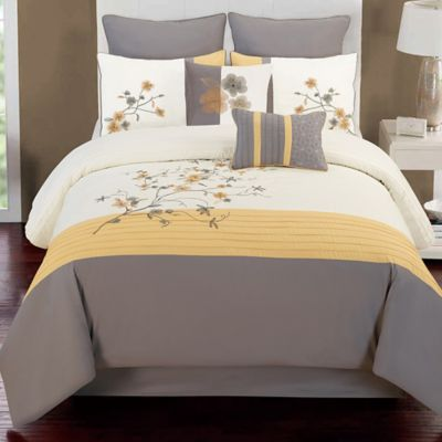 Buy Camisha 8 Piece Full Comforter Set In Yellow Grey From