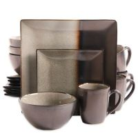 Gibson Kaidence 16-Piece Dinnerware Set in Brown - Bed ...