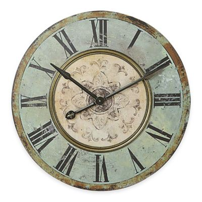 Buy Large Distressed Wood Wall Clock In BlueGreen From Bed Bath Amp Beyond