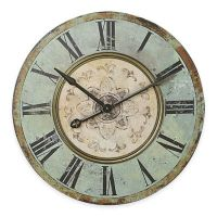 Buy Large Distressed Wood Wall Clock in Blue/Green from ...