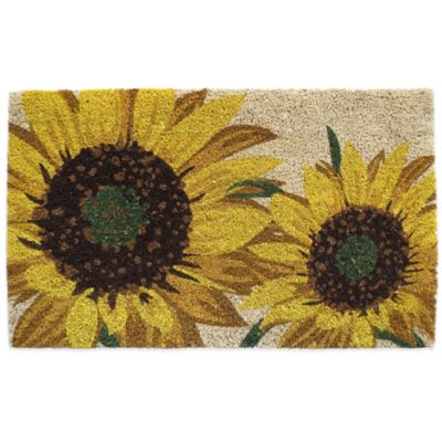 bed bath and beyond kitchen mat paint colors for walls nourison sunflower 18-inch x 30-inch coir door - ...