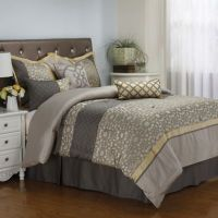 Buy Joseline 7-Piece Queen Comforter Set in Grey/Buttercup ...